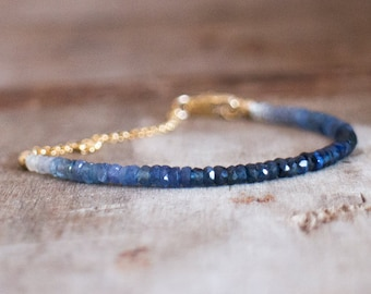 Blue Sapphire Bracelet, Wife Gift for Her, Beaded Bracelet, Ombre Gemstone Bracelet, Genuine Sapphire Jewelry, September Birthstone
