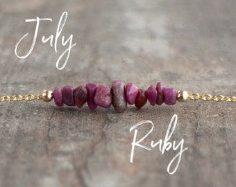 Raw Ruby Necklace - July Birthstone
