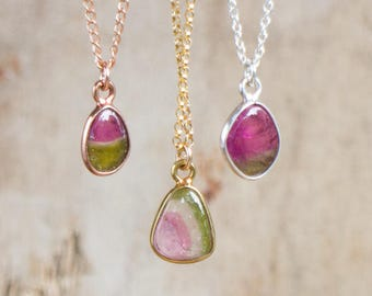 Tiny Watermelon Tourmaline Pendant, Bezel Set Bi-Colour Tourmaline Slice Necklace, Gift for October Birthdays