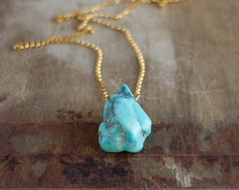 Raw Turquoise Necklace, Raw Stone Necklace, Gift for Her, Gift for Him, Chunky, Turquoise Jewelry, Boho Necklace, December Birthstone