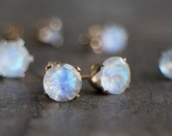 Moonstone Stud Earrings - June Birthstone