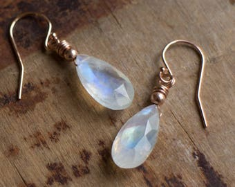 Moonstone Earrings, Gemstone Earrings, Mom Gift for Women, Drop Earrings, Dangle Earrings, Rainbow Moonstone Jewelry, June Birthstone