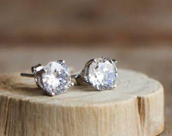 Cz Diamond Solitaire Sterling Silver Stud Earrings