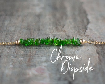 Green Chrome Diopside Necklace, Healing Crystal Choker, Jewelry Gift for Her