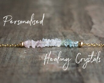 Personalised Healing Crystal Necklace, Fertility Necklace, Custom Family Necklace, Raw Stone Necklace, Gift for Mom, Grandma Necklace