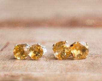 Citrine Stud Earrings, Gift For Wife, Mom Gift, Gemstone Earrings Studs, Citrine Jewelry, Citrine Ear Studs, November Birthstone Jewelry