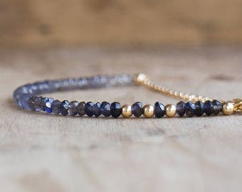 Water Sapphire Bracelet, Ombre Iolite Bracelet, Mom Gift for Her, Gift for Wife, Gemstone Bracelet, Stacking Bracelet, Iolite Jewelry