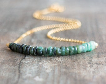 Raw Emerald Necklace, Gift for Women, May Birthstone Necklace, Emerald Jewelry, Gift for Her, Gemstone Necklace, Raw Stone Necklace, Ombre