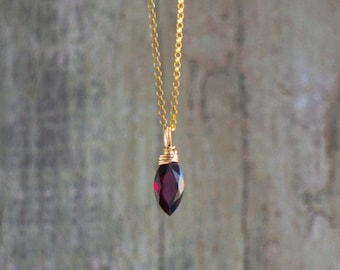Dainty Red Garnet Pendant Necklace In Sterling Silver or Gold Filled
