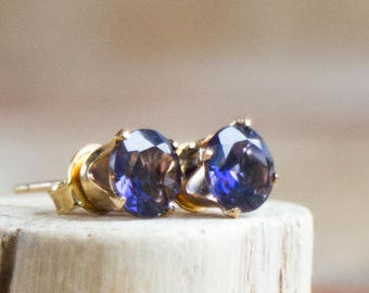 Iolite (Water Sapphire) Stud Earrings