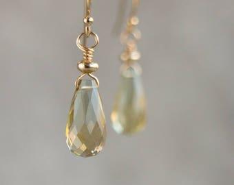 Gemstone Earrings, Gift for Women, Lemon Quartz Drop Earrings, Gift for Her, Crystal Earrings, Handmade Jewelry, Small Dangle Earrings