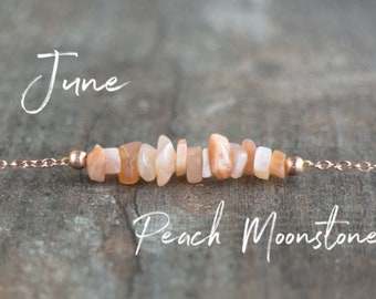Raw Peach Moonstone Necklace