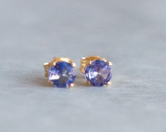 Tanzanite Stud Earrings, December Birthday Gift for Her, 4mm Gemstone Studs, Minimalist Jewelry, Tanzanite Ear Studs, December Birthstone