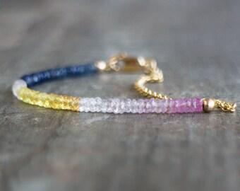 Rainbow Gemstone Bracelet - Emerald/Ruby/Sapphire
