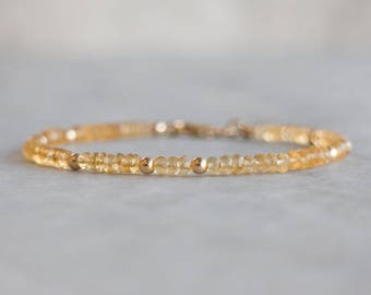 Citrine Bracelet, Gemstone Bracelet, Gift for Wife, Gift for Mom, Stacking Bracelet, Citrine Jewelry, November Birthstone Jewellery, Dainty