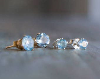 Aquamarine Stud Earrings - March Birthstone