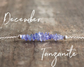 Raw Tanzanite Necklace - December Birthstone