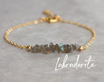 Raw Labradorite Bracelet