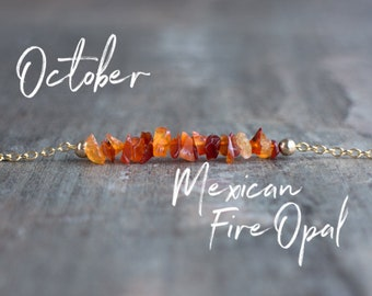Mexican Fire Opal Necklace - October Birthstone