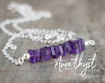 Square Bar Necklace - Amethyst - February Birthstone