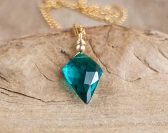 Teal Blue, Purple or Whiskey Colour Quartz Arrowhead Necklace