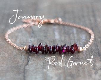 Raw Garnet Bracelet - January Birthstone