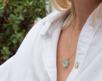 14K Gold Raw Aquamarine Necklace
