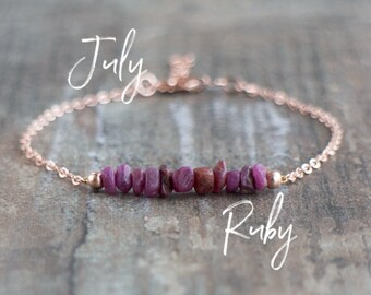 Raw Ruby Bracelet - July Birthstone