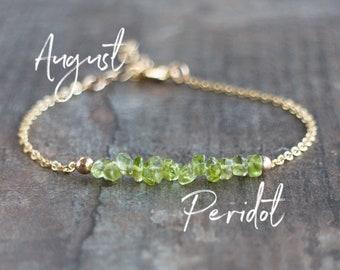Raw Peridot Bracelet