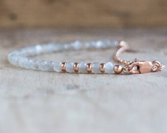 Grey Moonstone Bracelet, Silver, Gold or Rose Gold Bracelet, Gift for Wife, Moonstone Jewelry, Dainty Gemstone Bracelet, June Birthstone
