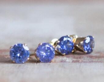 Sparkly Tanzanite CZ Stud Earrings