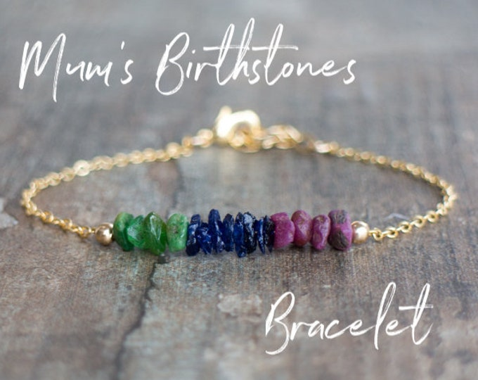 Featured listing image: Custom Family Birthstone Bracelet for Her, Personalized Gemstone Jewelry, Christmas Gift for Mom, Mom Bracelet, Gift for Grandma, Sister