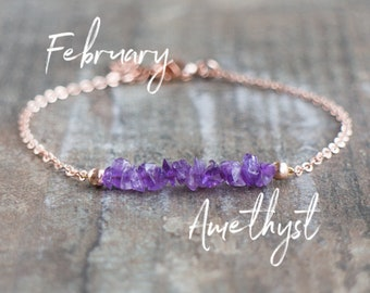 Raw Amethyst Bracelet - February Birthstone