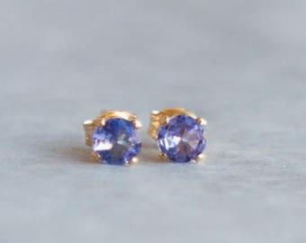 Tanzanite Earrings Studs, Gift for Her, Gemstone Stud Earrings, Minimalist Tanzanite Jewelry, Tanzanite Ear Studs, December Birthstone