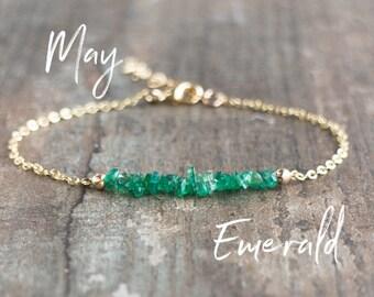 Raw Emerald Bracelet