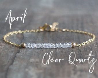Clear Quartz Bracelet - April Birthstone