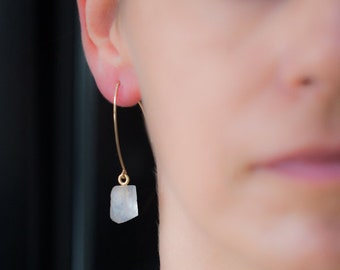 Raw Moonstone Earrings - June Birthstone