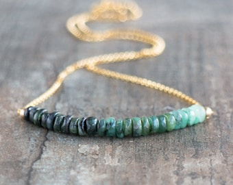 Raw Emerald Ombre Necklace - May Birthstone