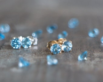 Blue Topaz Stud Earrings - November& December Birthstone