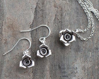 Sterling Silver Rose Necklace and Earrings Set