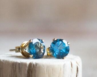 London Blue Topaz Stud Earrings - November & December Birthstone