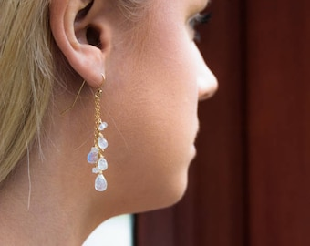 Moonstone Earrings, Statement Jewelry, Gift for Wife, Rainbow Moonstone Dangle Earrings, Gemstone Earrings, Long Earrings, June Birthstone