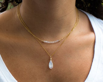 Rainbow Moonstone Necklace - June Birthstone