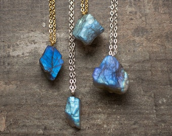 Raw Labradorite Necklace
