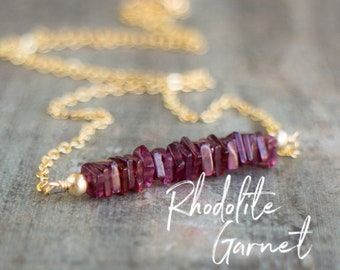 Square Bar Necklace - Rhodolite Garnet - January Birthstone