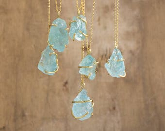 14K Gold Raw Aquamarine Necklace