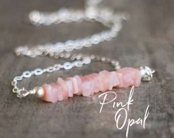 Square Bar Necklace - Pink Opal - October Birthstone