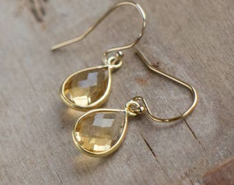 Citrine Earrings, Citrine Gold Bezel Drop Earrings, November Birthstone, Citrine Jewellery, Gift for Her, Small Earrings, Handmade Jewelry