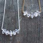 Raw Diamond Necklace, Herkimer Diamond Crystal Jewelry, April Birthstone Gift for Wife