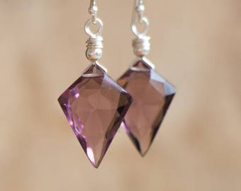Purple Quartz Arrowhead Earrings